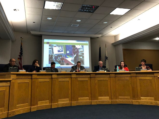 Staunton school board members listen to a presentation during a March 11, 2019 meeting.