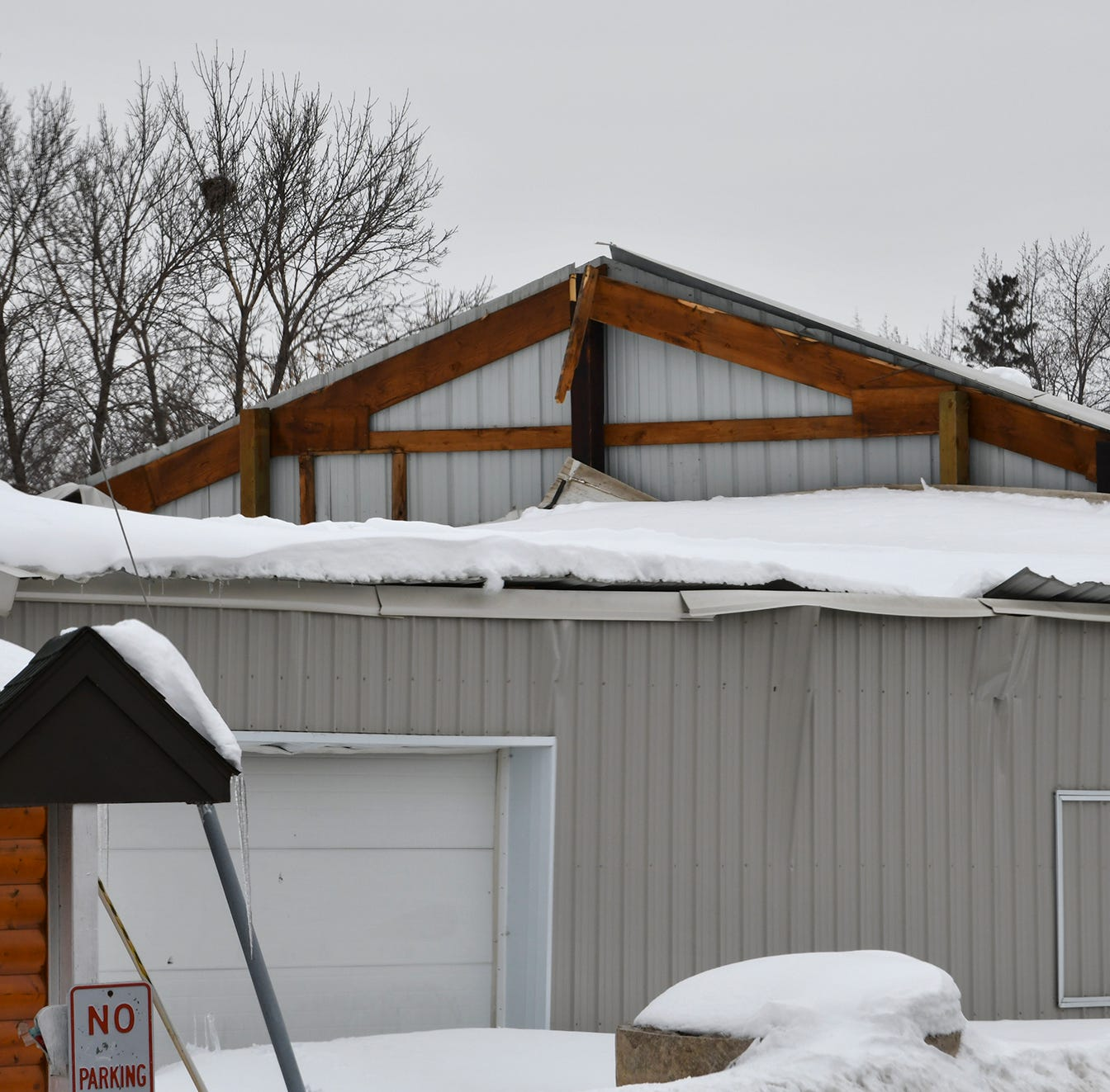Roof of Lions Club building at Benton County Fairgrounds caves in