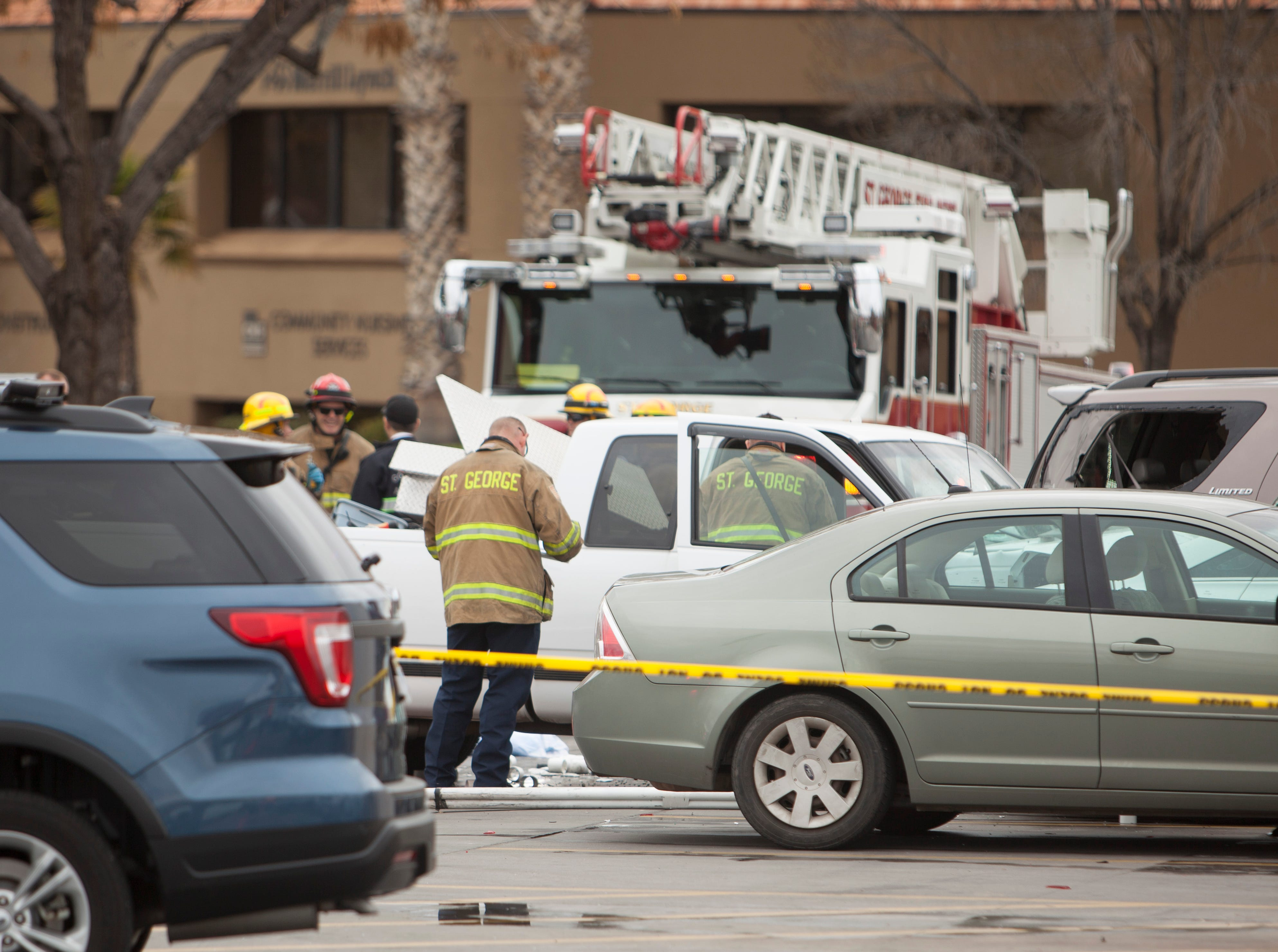 The St. George Police and Fire departments respond to an accident at Maverik near River Road Tuesday, March 12, 2019.