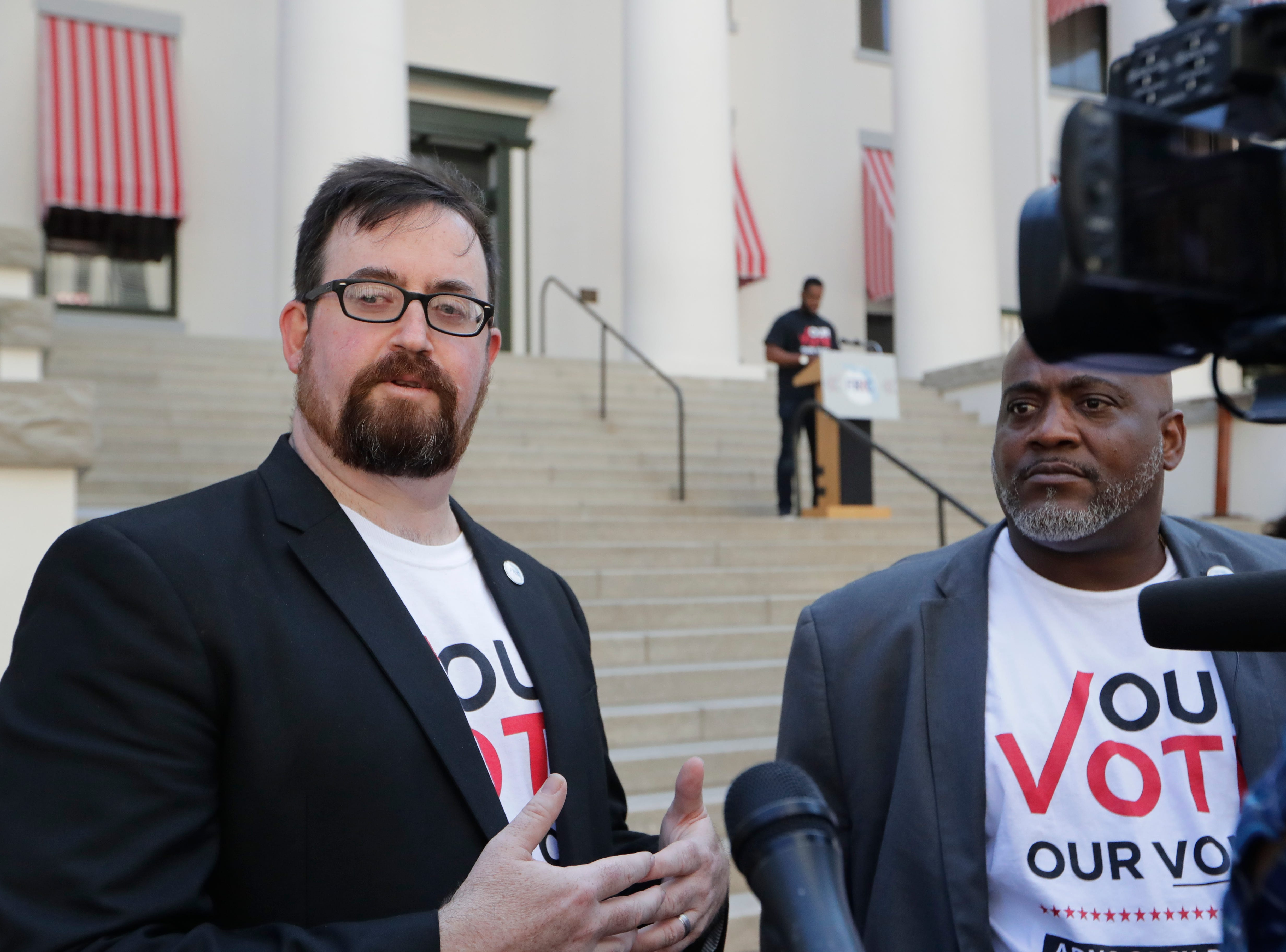 Neil Volz, Florida Rights Restoration Coalition political director, speaks to the press before Floridians with felony convictons gather on the steps of the Historic Capitol Tuesday and meet with legislators to advocate for Amendment 4 legislation.
