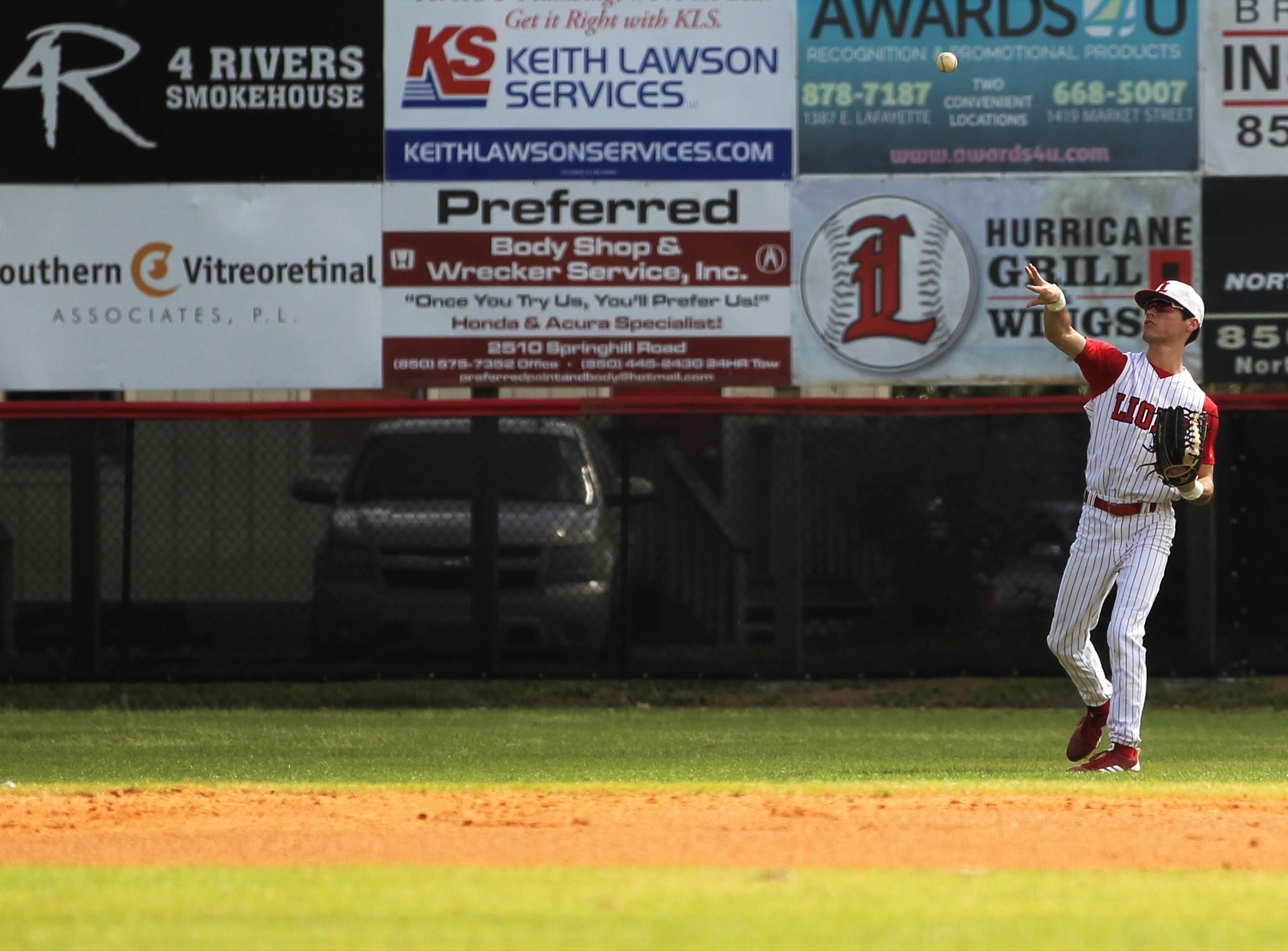 Leon senior outfielder Tyler Sims throws a ball back in as NFC plays at Leon during a preseason game in February.