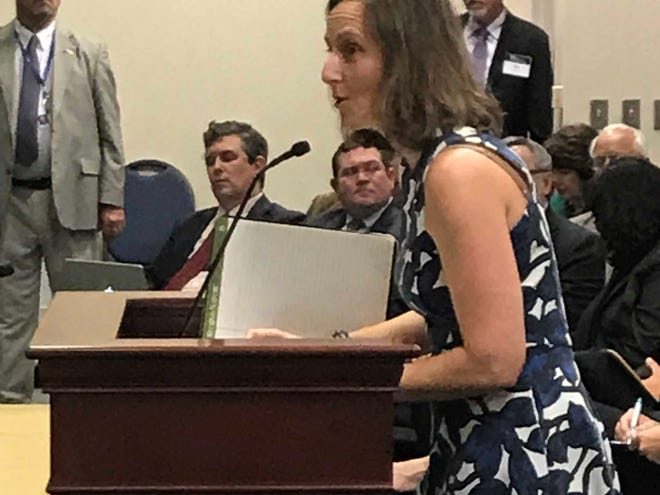 Aliki Moncrief, executive director of Florida Conservation Voters, testifies before a house committee Tuesday about a bill to expand wetland mitigation banking to local governments.