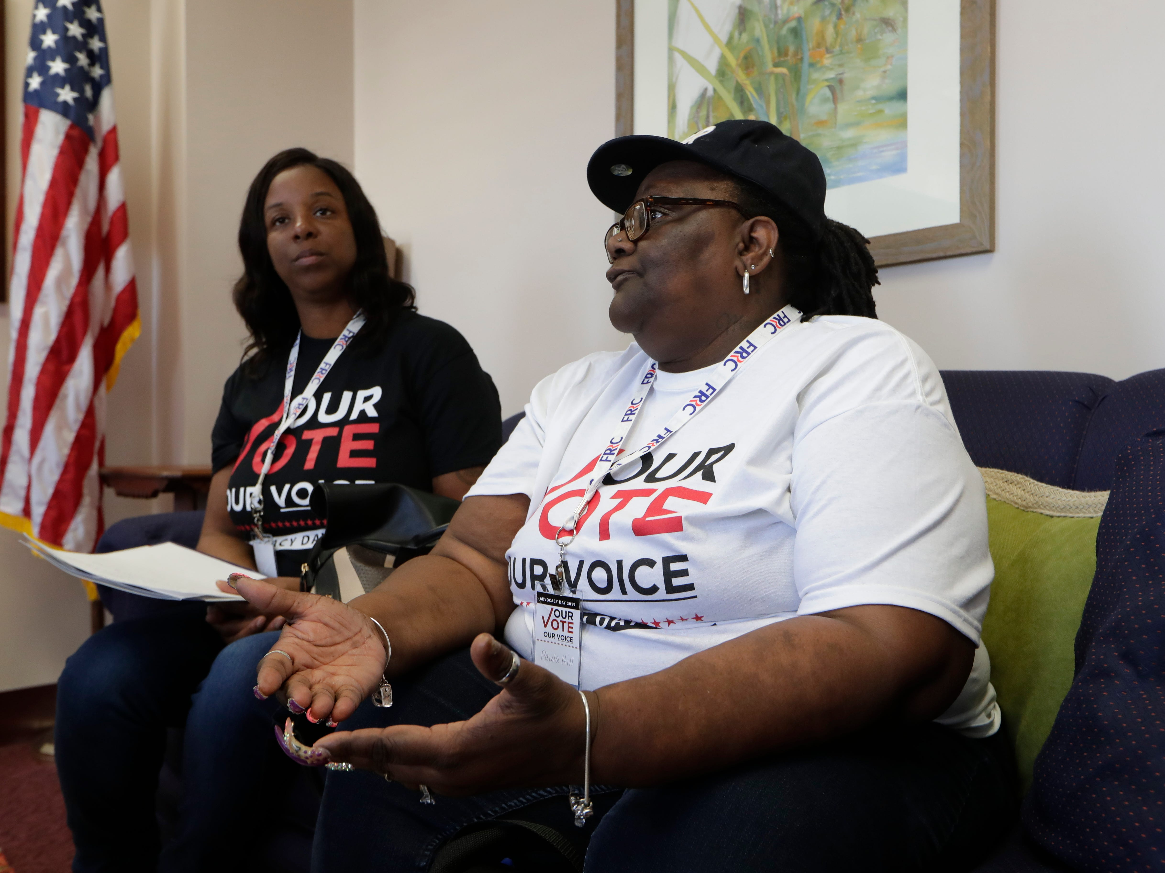 Latisha Berry, left, and Paula Hill, both of Tallahassee, talk with Rep. Loranne Ausley in her office Tuesday as over 500 returning citizens met with representatives at the Capitol during an Amendment 4 returning citizens advocacy day organized by the Florida Rights Restoration Coalition.