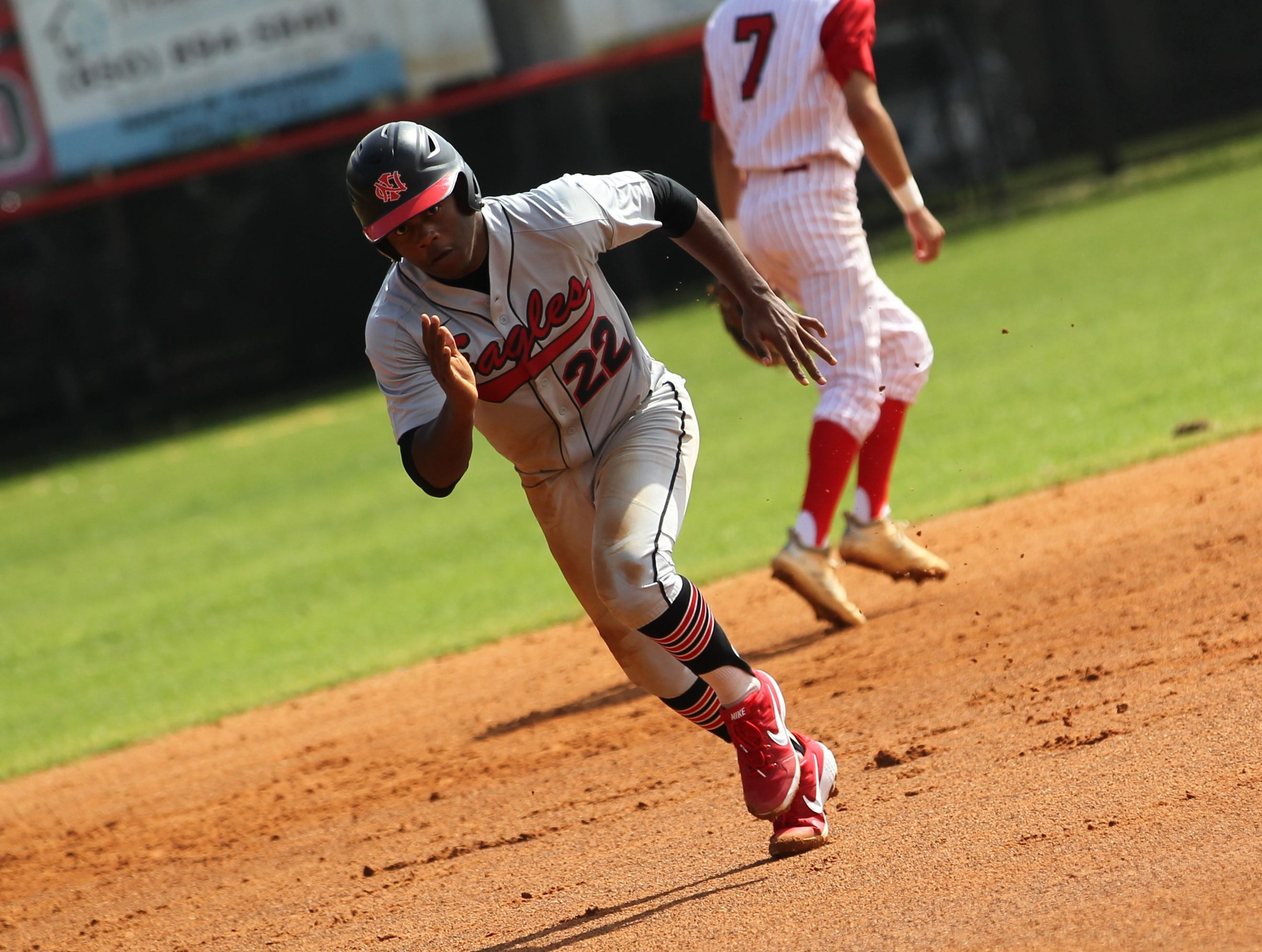 NFC junior Jonathan Railey runs the bases as NFC plays at Leon during a preseason game in February.