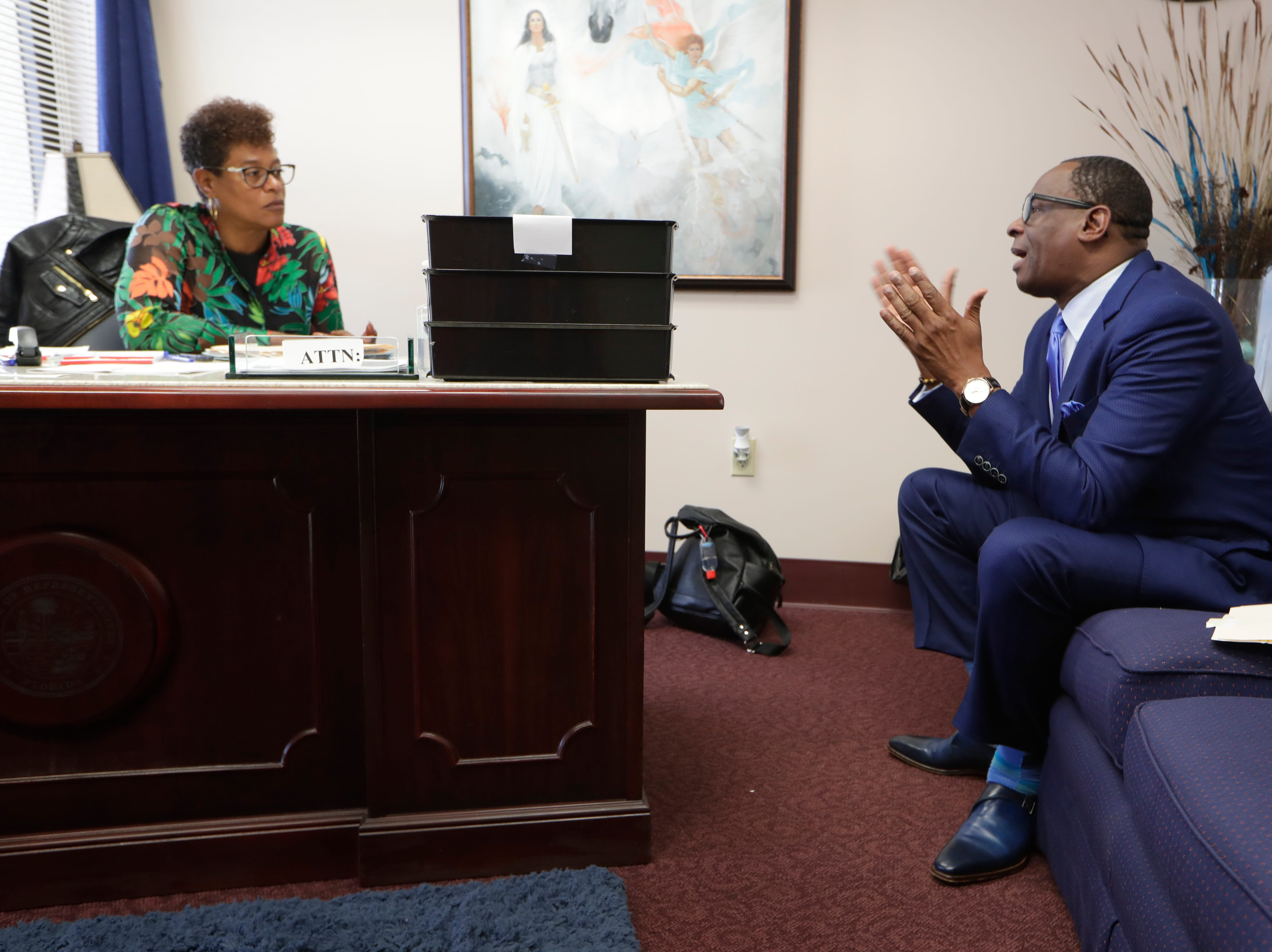 Rev. Greg James meets with Rep. Kimberly Daniels in her office to discuss legislation regarding Amendment 4, restoring voting rights to those with felonies in Florida. Rev. James was one of over 500 Florida citizens with restored voting rights that visited the Capitol Tuesday to rally and talk with legislators.