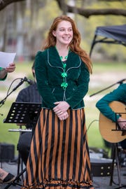 Emily Holt dresses as Sweet Rosie O'Grady at the Tallahassee St. Patrick's Day Irish Festival.