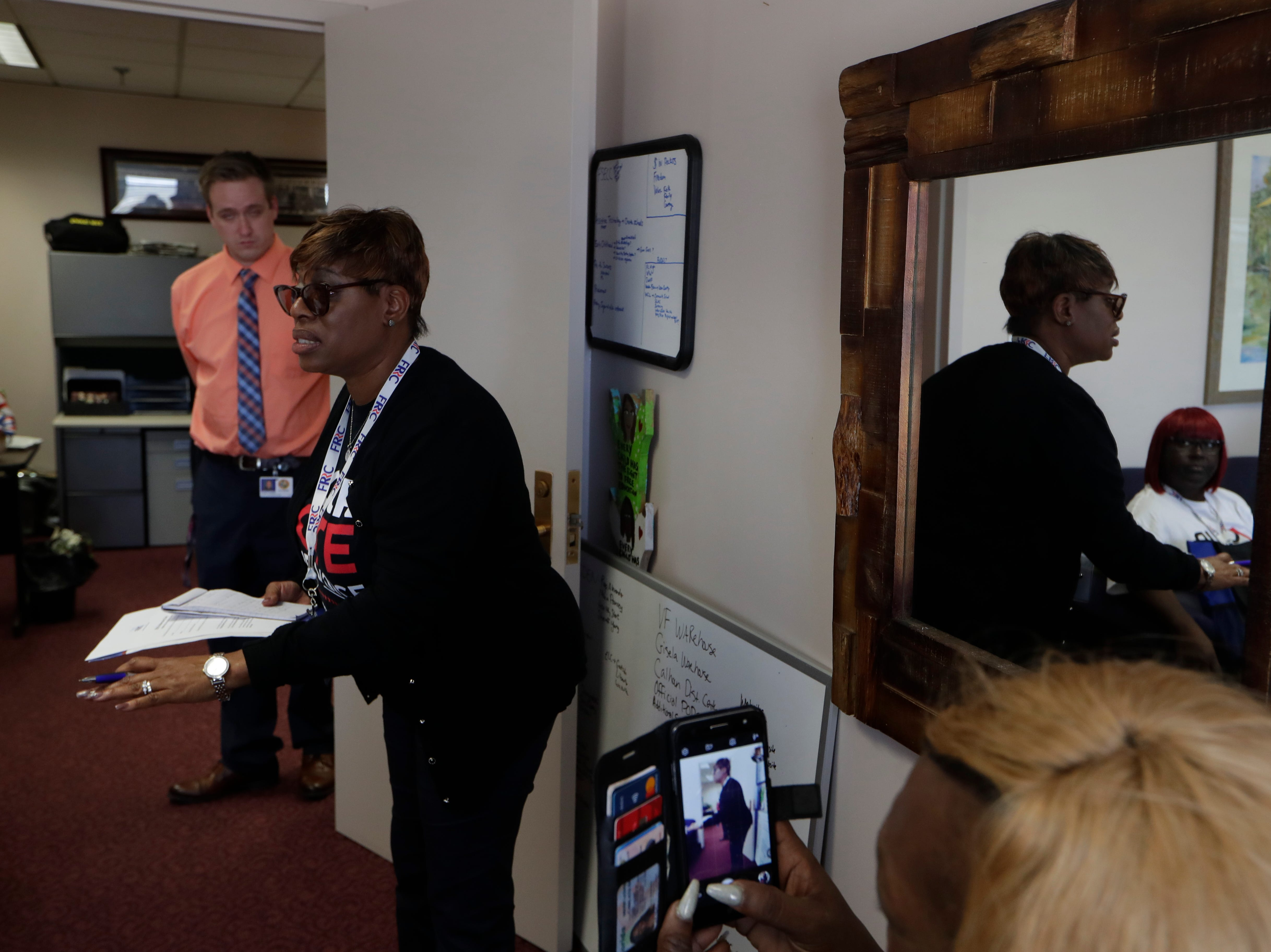 Janet Right gives an impassioned speech to Rep. Loranne Ausley in her office at the Capitol. Right was one of more than 500 Florida residents with felony convictions whose voting rights were restored in November who visited the Capitol to advocate for Amendment 4 legislation Tuesday, March 12, 2019.