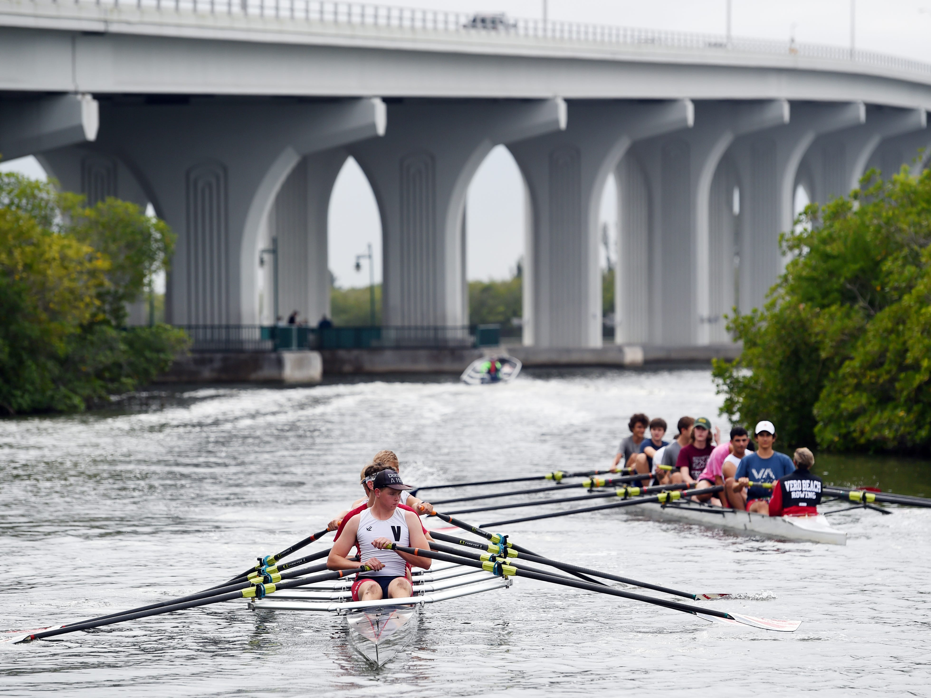 "Junior members of Vero Beach Rowing make their way to the Indian River Lagoon on Tuesday, March 12, 2019 for afternoon practice at McWilliams Park in Vero Beach. Currently, the club has about 30 junior members and 90 adult members. ""In rowing you learn discipline, teamwork, self-confidence, the ability to work harder than you ever thought imaginable,"" said coach Brian Colgan. ""If everyone rows as one it's a beautiful thing."""