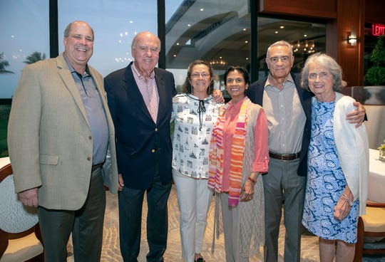 Erich Lichtenberger, left, Bill Lichtenberger, Suzi Beers, Gytha Von Aldenbruck and Gail and John Pezzimenti at the 2019 Frances Langford Humanitarian Award reception at Sailfish Point Country Club.
