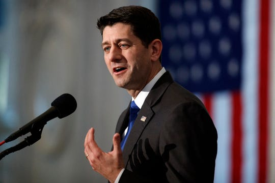 "House Speaker Paul Ryan of Wis., gives a farewell speech in the Great Hall of the Library of Congress in Washington, Wednesday, Dec. 19, 2018. Ryan is bemoaning America's ""broken politics"" in which he calls Washington's failure to overhaul costly federal benefit programs ""our greatest unfinished business."" Ryan spoke Monday at Riverside Theatre as part of the Distinguished Lecturer Series."