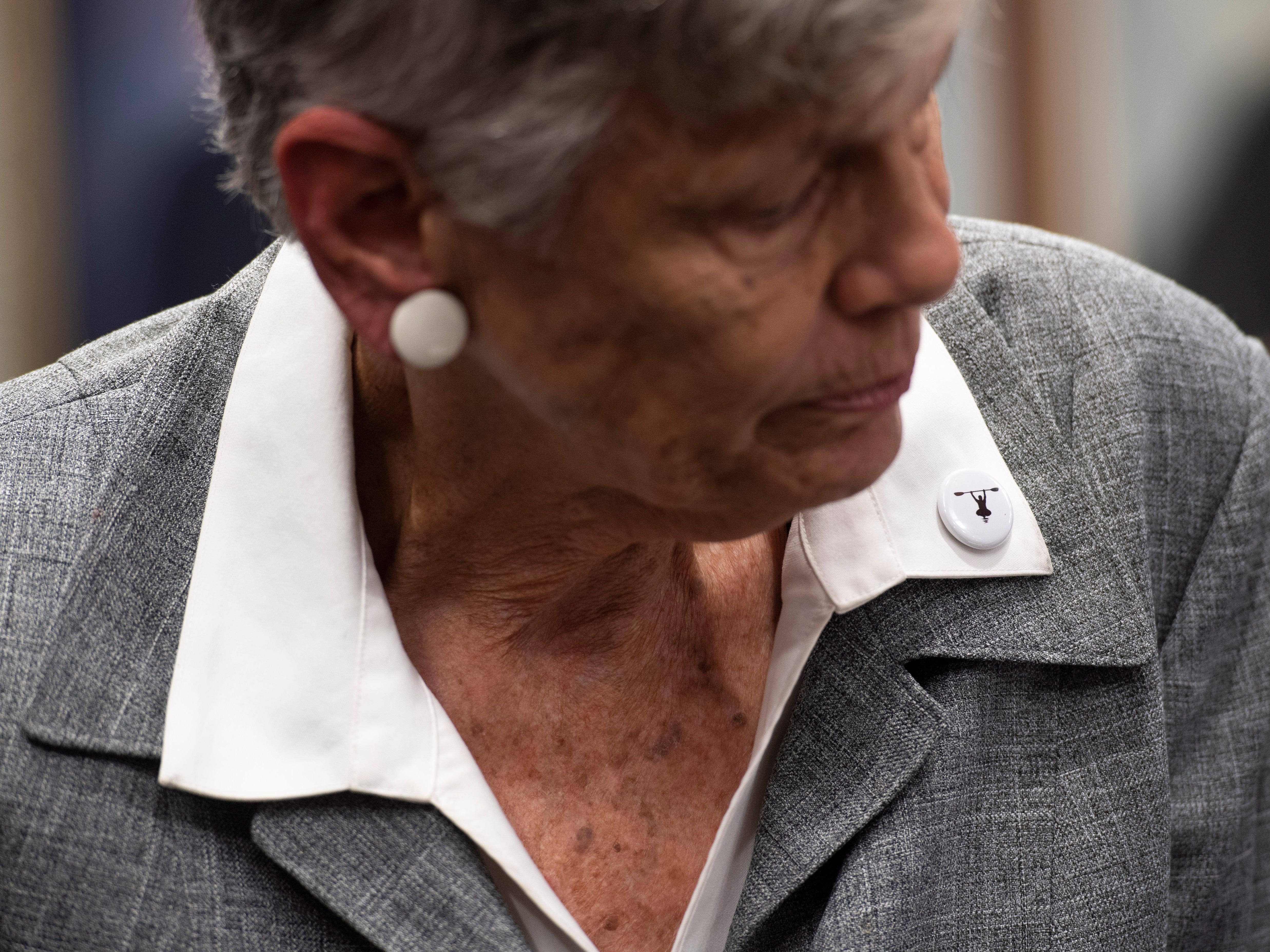 Buttons depicting Maggy Hurchalla on a kayak were distributed by supporters ahead of a hearing where Hurchalla appealed a Martin County jury's decision that she owes $4.4 million to rock quarry Lake Point for interfering in their contract with the county and the South Florida Water Management District on Tuesday, March 12, 2019, at the Fourth District Court of Appeal in West Palm Beach. As part of the payment Hurchalla was ordered to pay to Lake Point, the Martin County Sheriff's Office seized two kayaks and a 2004 Toyota from Hurchalla in July.