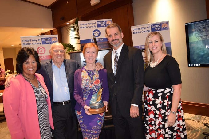 United Way of Martin County CEO Carol G. Houwaart-Diez, left, with award recipients Joe and Margaret Richebourg Temple and United Way Foundation Board Chair Todd Thurlow and United Way Director of Community Relations, Major Gifts and Endowments Elisabeth Glynn at the 2019 Frances Langford Humanitarian Award reception at Sailfish Point Country Club.