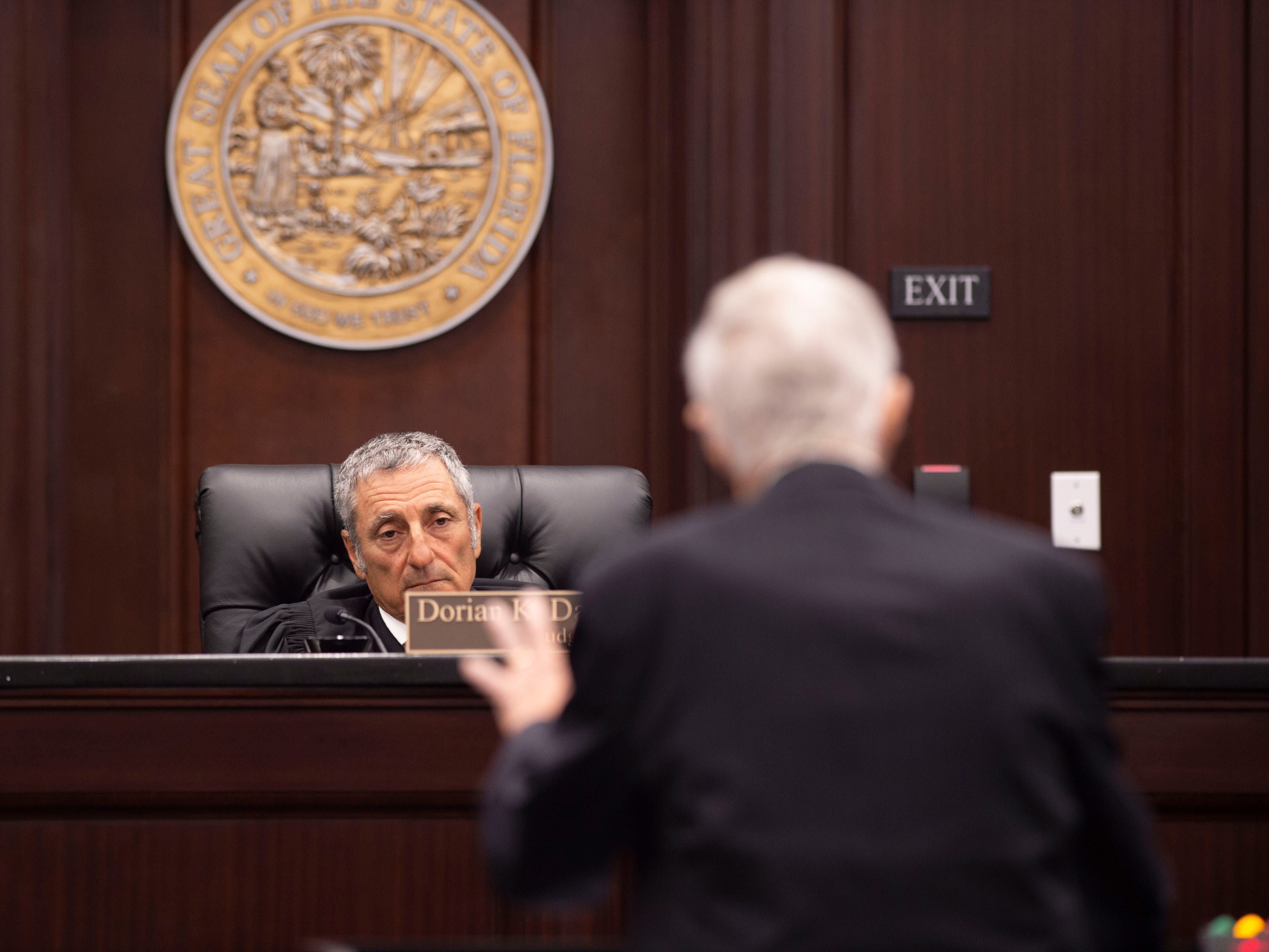 Attorneys representing Martin County environmentalist and former commissioner Maggy Hurchalla and rock quarry Lake Point made arguments to Fourth District Court of Appeal judges Burton C. Conner, Dorian K. Damoorgian and Alan O. Forst as Hurchalla appealed of a jury's decision that she owes $4.4 million to Lake Point, a rock quarry in western Martin County, during a hearing Tuesday, March 12, 2019, at the courthouse in West Palm Beach.