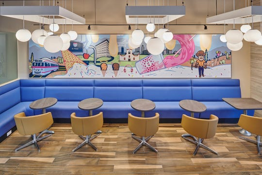 The newest Baskin Robbins will have a mural that honors El Paso's landmarks including the street cars and the missions.