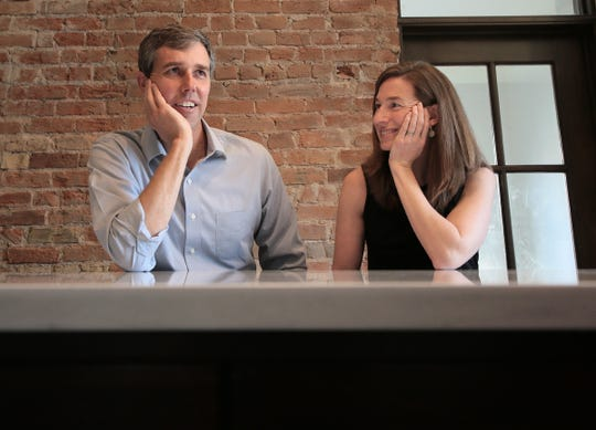 Beto O'Rourke and Amy Sanders O'Rourke at their home in El Paso.