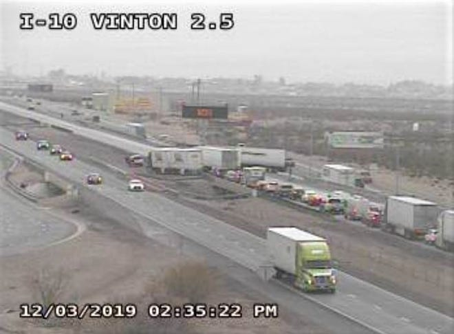 Traffic accident on Tuesday afternoon blocked Interstate 10 East near Vinton outside of West El Paso.