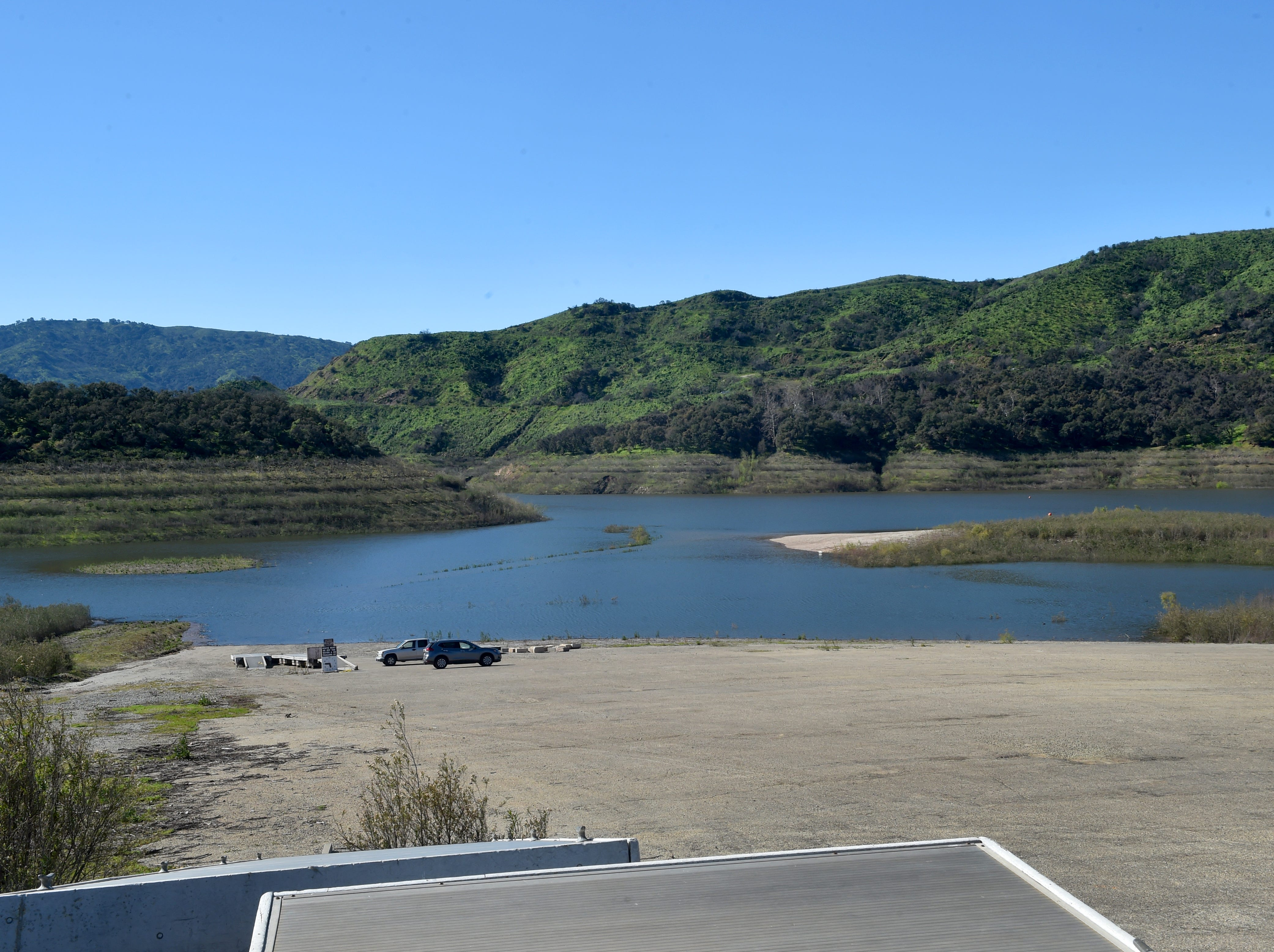 "The lower section of the Coyote launch ramp at Lake Casitas is submerged thanks to this year's steady stream of storms. The rains have boosted water levels at the lake past the ""critical drought"" threshold. Casitas is at 101,687 acre-feet or about 43 percent of its capacity."