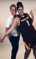 Former Ventura College basketball star Cindi (Jensen) Burton and daughter Keeli Burton-Oliver enjoyed a recent recruiting trip to Arizona State.