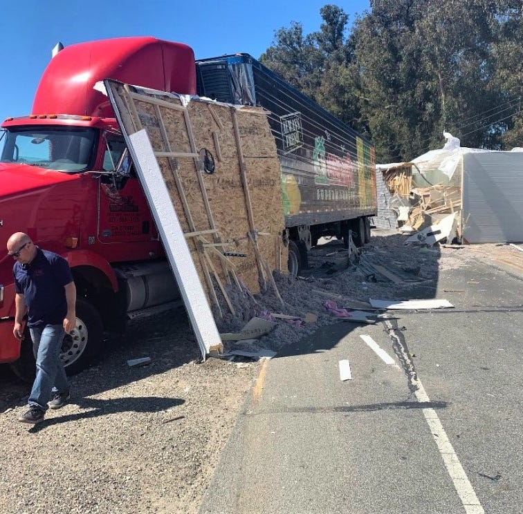 Overturned mobile home blocks Highway 118 in Somis
