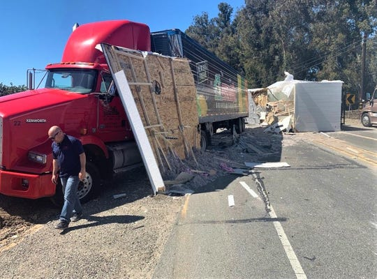 An overturned mobile home blocked eastbound and westbound Highway 118 at Mesa School Road in Somis on Tuesday afternoon.