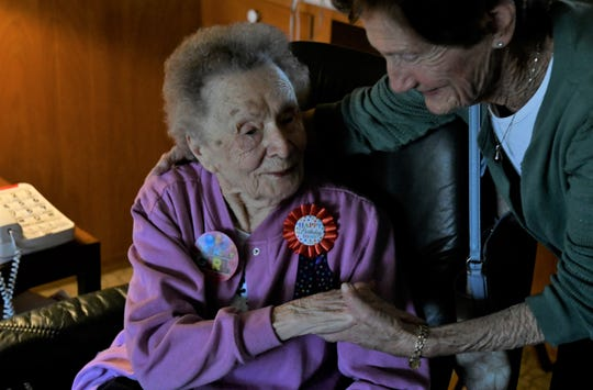 Sally Metzger and Molly Wright have been friends for decades. The two celebrated Metzger's 100th birthday in Visalia on Tuesday, March 12.