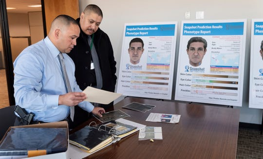 Tulare County Sheriff Detective Kenny Jones, left, and Lt. Joe Torres review evidence and new developments in the 1994 Angelica Ramirez murder case on Monday, March 11, 2019.