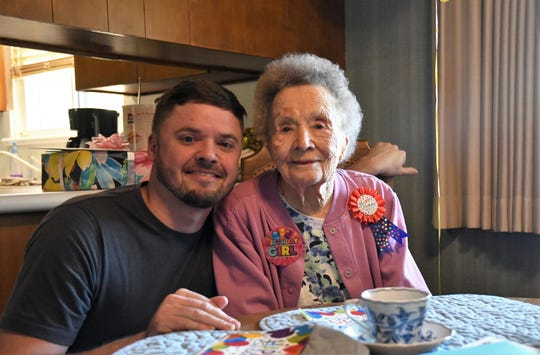 Sally Metzger and her grandson Ryan Metzger celebrated her 100th birthday on Tuesday, March 12.