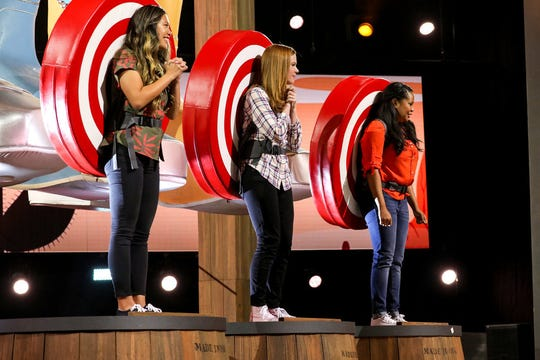"Golden West chemistry teacher, Jenny Harmon (pictured middle), competes in ""Ellen's Game of Games."" The show will air tonight at 8 p.m. on NBC."