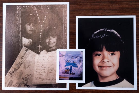 Angelica Ramirez was murdered in 1994. Detectives in the Tulare County Sheriff Department hope new technology will bring them closer to finding the killer. Middle photo shows the blood-stained shirt she was wearing when she was found.