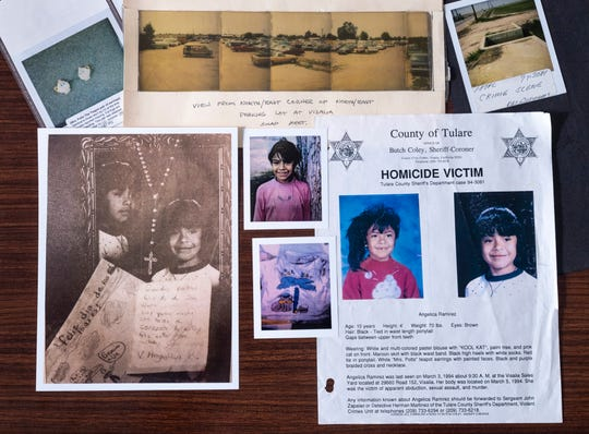Angelica Ramirez was murdered in 1994. Detectives in the Tulare County Sheriff Department hope new technology will bring them closer to finding the killer. Lower middle photo shows the blood-stained shirt she was wearing when she was found.