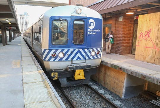 A MTA/Metro-North Railroad engineer drives a commuter train in to the  White Plains Metro-North Train Station on Monday, March 11, 2019.