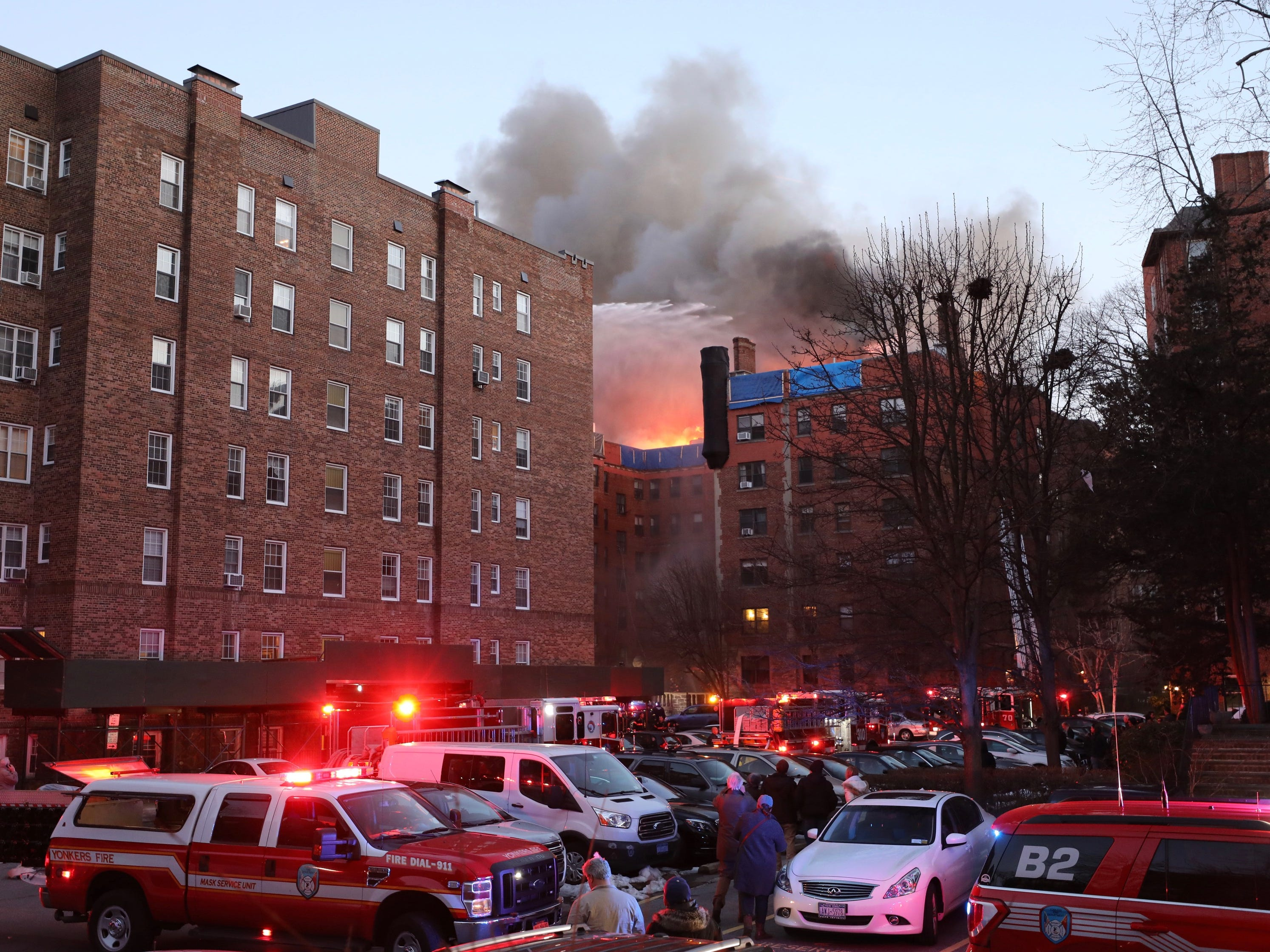 Yonkers firefighters and mutual aid companies battle a four -alarm fire at 15 Parkview Ave. in the city.