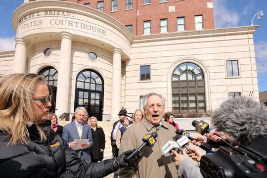 Attorney Michael Sussman, representing families from Green Meadow Waldorf School in Chestnut Ridge, speaks outside White Plains federal courthouse March 12, 2019. Sussman is asking the judge to vacate the exclusion order by Rockland County health department barring children without their measles vaccination from school.