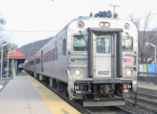 A NJ Transit engineer drives a commuter train at the Suffern/NJ Transit Train Station on Tuesday, March 12, 2019.