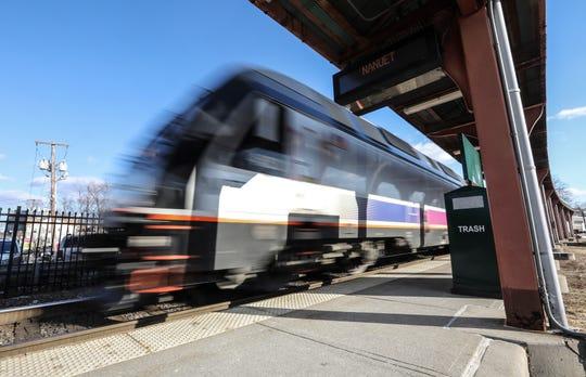 A NJ Transit train arrives at the Nanuet Metro-North/NJ Transit Station on Tuesday, March 12, 2019.