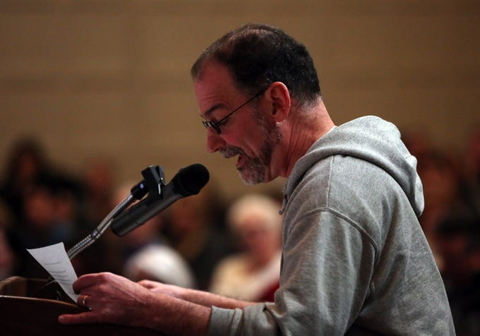 The Suffern School board holds a special meeting to deal with backlash from the community over suspending veteran Superintendent Douglas Adams on undisclosed disciplinary charges during a special meeting at Suffern Middle School March 11, 2019.