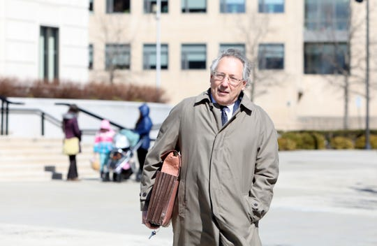 "Attorney Michael Sussman, who represents families from Green Meadow Waldorf School, leaves White Plains federal courthouse after a judge denied issuing a temporary injunction that would have allowed unvaccinated children to go back to class at the Green Meadow Waldorf School, citing Rockland County's ""unprecedented measles outbreak,"" March 12, 2019."