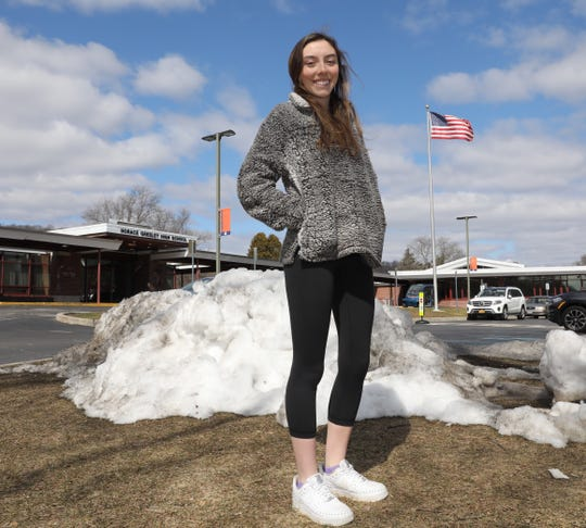 Sam Burton, a junior at Horace Greeley High School, is the 2019 Westchester/Putnam girls skier of the year. Here she is pictured at the school in Chappaqua, March 12, 2019.