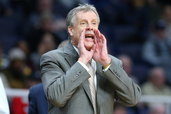 Mar 11, 2019; Albany, NY, USA; Iona Gaels head coach Tim Cluess reacts to a play against the Monmouth Hawks during the second half in the MAAC Conference Tournament Championship game at the Times Union Center.
