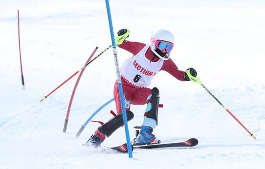 Clarkstown's Jessica Polvino competes in the girls Section 1 skiing championships at Catamount Mountain in Hillsdale, N.Y. Feb. 14,  2019.