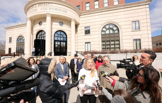 A parent of a pre-schooler at the Green Meadow Waldorf School in Chestnut Ridge speaks about a lawsuit against the Rockland County health department challenging an order barring children without their measles vaccination from school, outside White Plains federal courthouse March 12, 2019.