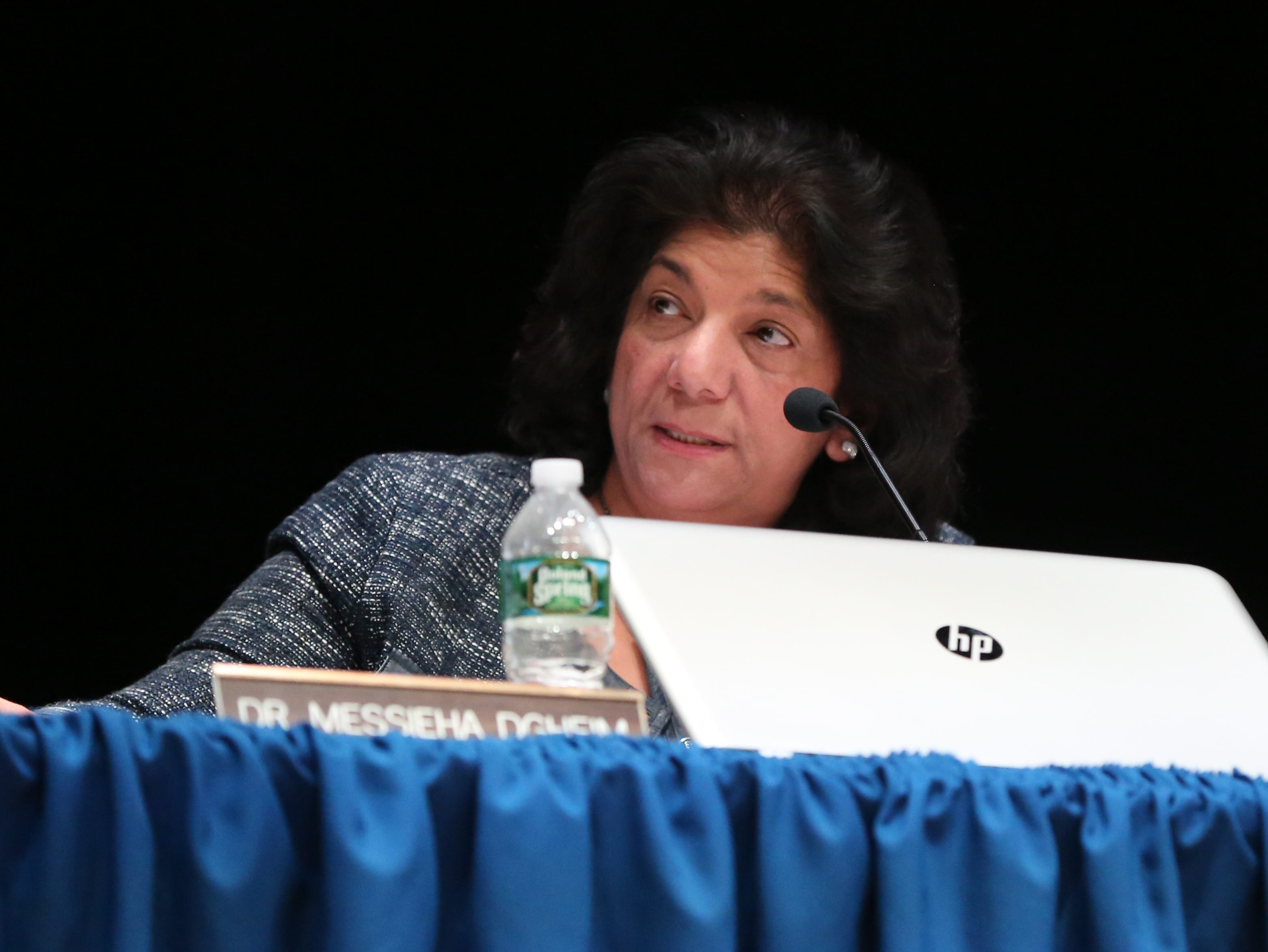Suffern Central School board president Dr. Messieha Dgheim during a special meeting to deal with backlash from the community over the board suspending veteran Superintendent Douglas Adams on undisclosed disciplinary charges at Suffern Middle School March 11, 2019.