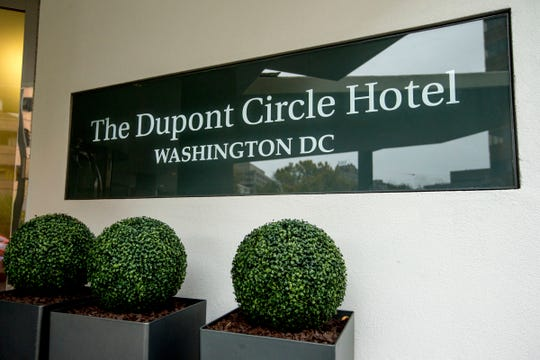 In this Nov. 7, 2015, file photo, the Dupont Circle Hotel in Washington where Mikhail Lesin, a former aide to Russian President Vladimir Putin, was found dead on Nov. 5, 2015.