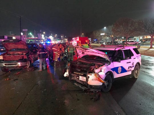 A Wichita Falls police vehicle was involved in a collision with a Toyota Highlander that turned on a red light Monday evening near Sikes Senter.