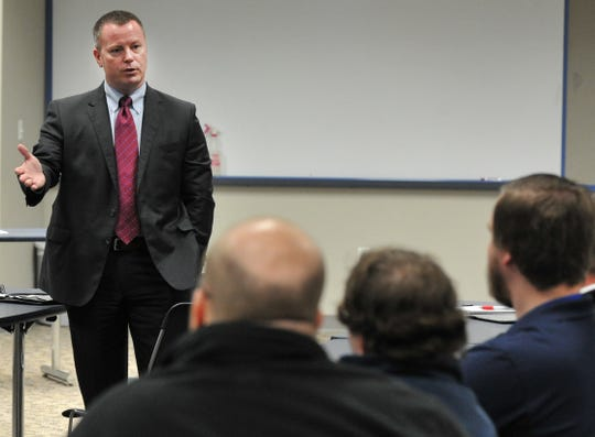 Supervisory Special Agent Ronald Brown of the Federal Bureau of Investigations answers media questions Tuesday morning during a presentation about the FBI's policies on releasing information to the public and media at the Wichita Falls Public Safety Training Center.