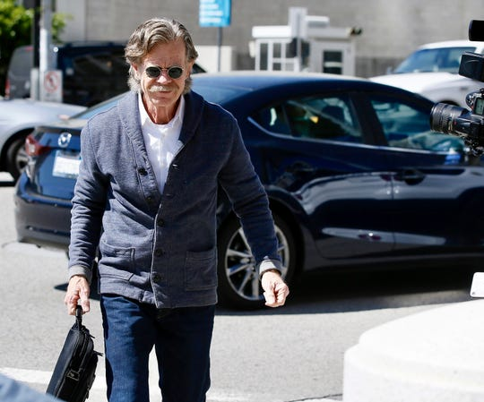 William H. Macy arrives at the federal courthouse in L.A. on March 12, 2019, the day Felicity Huffman was charged in a college bribery scheme. Macy was not charged.