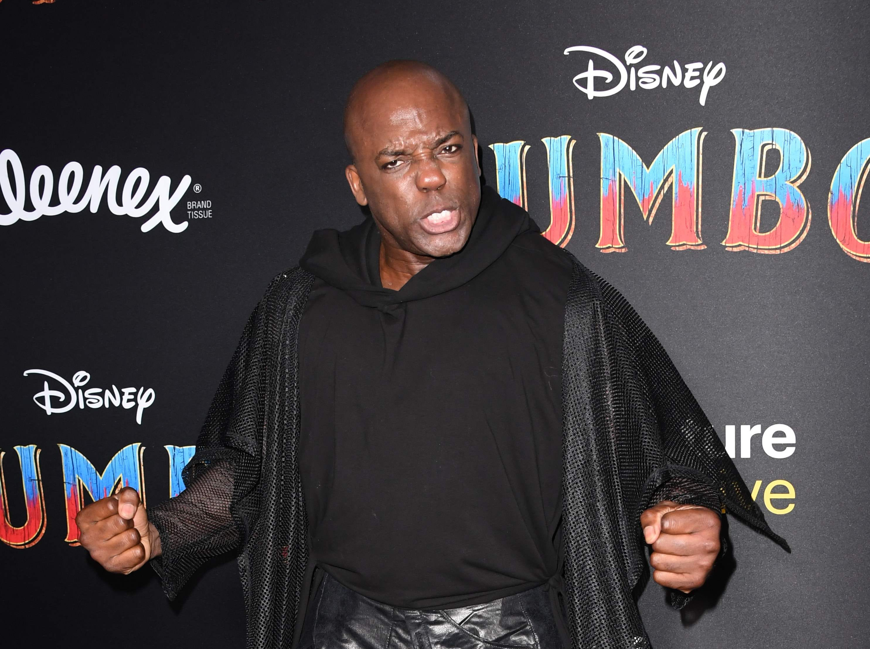 """British actor DeObia Oparei arrives for the world premiere of Disney's """"Dumbo"""" at El Capitan theatre on March 11, 2019 in Hollywood. (Photo by Robyn Beck / AFP)ROBYN BECK/AFP/Getty Images ORG XMIT: Premiere ORIG FILE ID: AFP_1EI14D"""