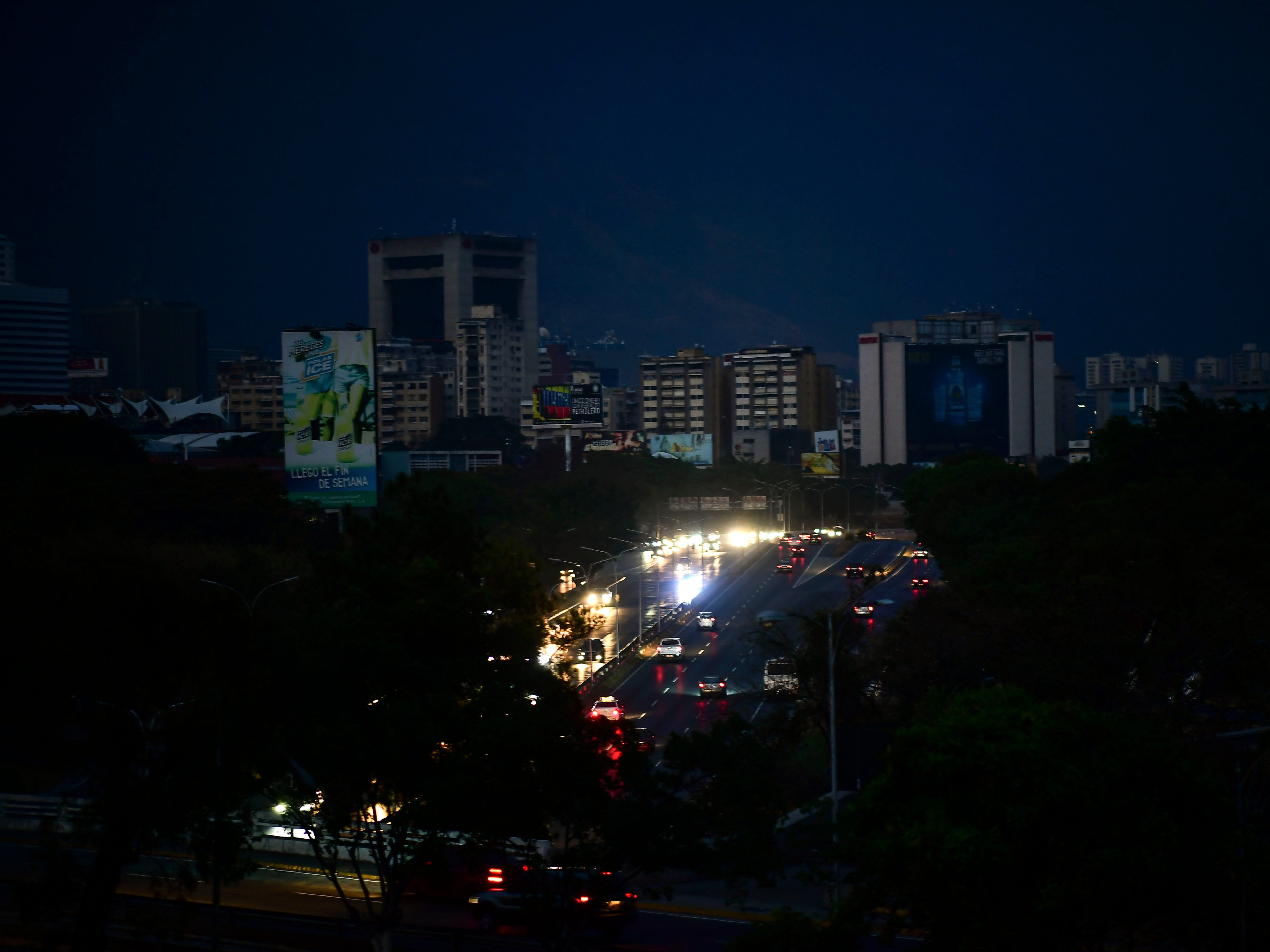 View of Caracas taken on March 8, 2019 during the worst power outage in Venezuela's history.