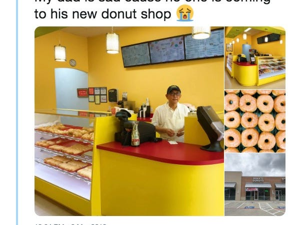 Photo of sad dad trying to sell donuts goes viral, and a sweet Twitter moment is born