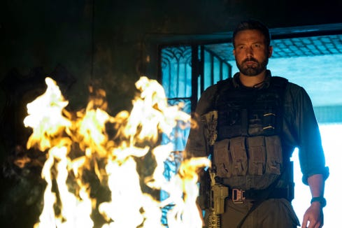 "Ben Affleck leads a group of ex-military operatives who travel to South America to rob a drug lord in ""Triple Frontier."""